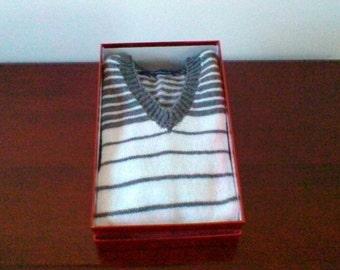 Exclusive!! Boy Jumper Grey & White Striped Hand Knitted,Gift for Him,V-neck Sweater,Boy Sweater,Kidswear,Men Jumper,Handmade,UK Seller