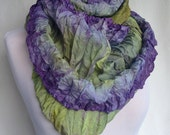 Infinity Scarf | Gift for Her | Shibori Infinity | Hand Dyed Scarf | Shibori Silk | Multi Color Scarf | Purple Scarf | Ombre Scarf | Womens