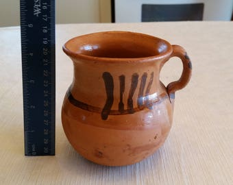 vintage native american indian red brown clay pottery pitcher / jug signed art - southwestern handmade painted navajo pot water primitive