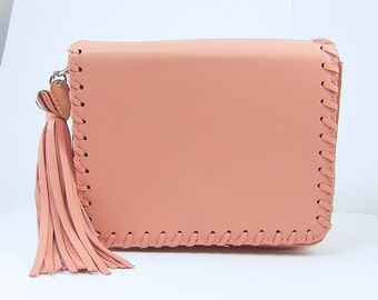 Small Pink Handbag, Pink Purse with Tassel, Personalized Pink Shoulder Bag, Engraved Pink Clutch Bag, Engraved Gift for Her |2226