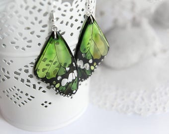 Gift for her jewelry Green earrings for grandmother gift for granddaughter gift jewelry Butterfly earrings Resin jewelry Insect earrings