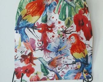 Hit Bag Perroquets, fleurs et tropique | sac à dos avec lanières | 33 x 40 cm | Summer 2017 | sac de plage | Cabas imprimé recto | vacances
