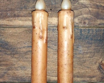 2/Set Battery Operated Timer Taper Candles, 7 inch, Wax Dipped Grungy Candle, Primitive Home Decor, Country Home Decor, Country Crafts