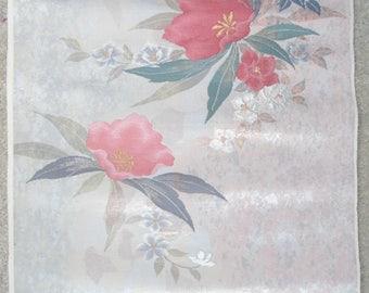 Japanese SILK OBI Sash Panel - Red Rhododendron