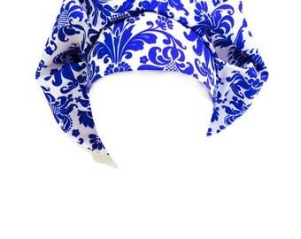Bouffant Scrub Hat Royal Blue Damask