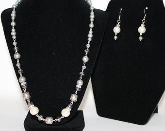Pearl Jewelry Set Glass Pearls Tahitian Gray White Necklace Earrings Crystal Accents Rhinestones