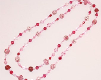 Cranberry & Rose Pink Lampwork Glass Long Beaded Necklace with Swarovski Crystals, Handcrafted and exclusive Women's Necklace