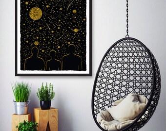 Three wishes, Wall Art Prints, Modern Decor, Black and White Prints, Wall Decor, Wall Prints, Home Decor.