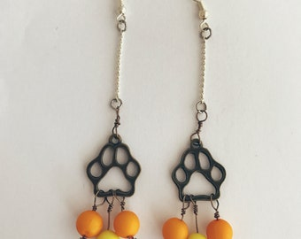 Handmade Paw Print Dog Cat Yellow Orange Bronze Silver Dangle Earrings