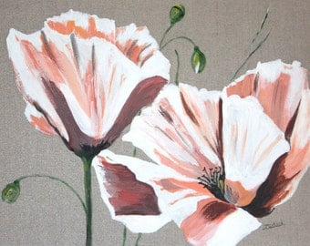 Pink poppy flowers, acrylic painting on linen