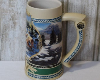 Coors Beer Stein Without Lid/Coors 1995 waterfall Stein/Barware