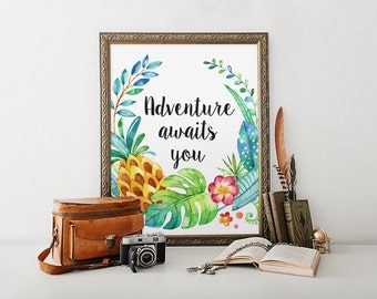 Nursery Print, Adventure Awaits You, Motivational Print, Leaves Print, Inspirational Quote, Typography Print, Home Decor, Kidds Room Decor