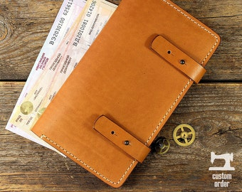 Leather Travel wallet TR-01. Facture. [custom order]