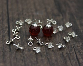 10pcs- 4mm Sterling Silver Flower Bead Cap with Peg for Top Drilled Beads