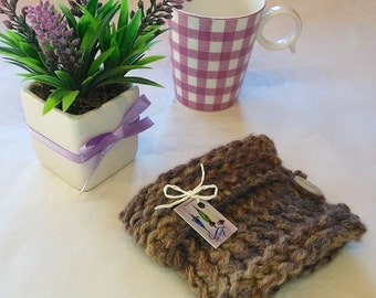 mug cozy, mug sweater, cup cozy, mug holder, coffee cozy, tazza cozies, purplish, brownish