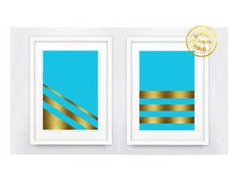 Printable art 2 Digital Prints blue gold modern wall art printable art, printable prints