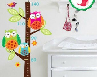 Owl Tree Wall Decal, Owl Wall Decals, Owl Growth Chart, Owl Wall Decals for Nursery, Owl Decals for Walls, Nursery Wall Decals Owls
