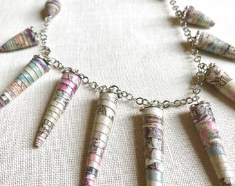 Ethnic necklace made with paper tones, gift for her, handcrafted jewellery