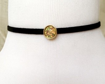 Faux Suede Gold Stone Choker
