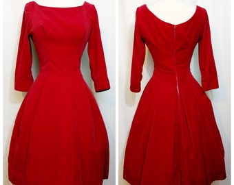 Red Velvet 50s Party Dress