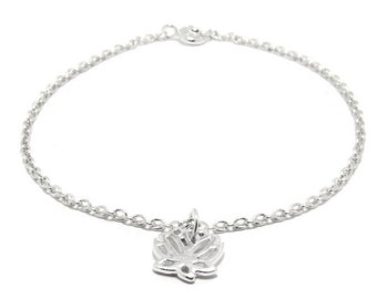 Sterling silver lotus flower bracelet dainty silver bracelet yoga bracelet zen bracelet mothers day gift silver gift for her lotus jewelry