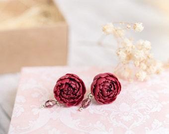 Peony earrings Flower earrings Peony jewelry Floral earrings Wedding bridal earrings Peony flower Red peony stud earrings Romantic earrings
