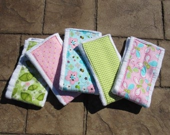 Baby Burp Cloths, Set of 5 Flowers and Butterflies
