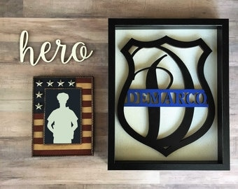 Large Personalized Police Monogram Cutout