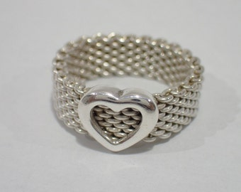 Stunning Sterling Silver Tiffany & Co. Mesh Heart Ring - Size 6 - Like New!