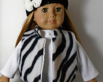 "18"" Doll Clothes fit American Girl Fleece Vest and Crocheted Hat Set ZEBRA PRINT"
