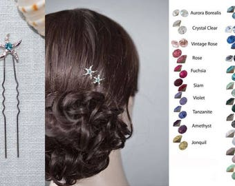 Choose Your Accent Colour -- Set of 2 Crystal Rhinestone Starfish Hair Pins, Beach Wedding (Sparkle-2327)