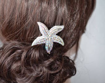 Handmade Aurora Borealis AB Crystal Rhinestone Starfish Hair Clip, Bridal, Wedding (Sparkle-2727)