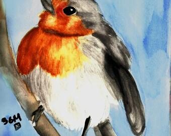 European Robin Watercolor Bird Print