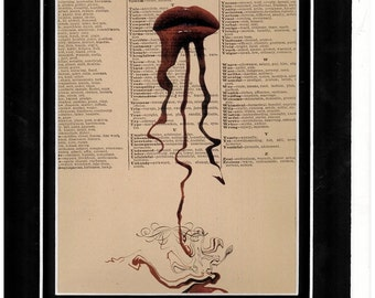 Art print lip series vintage dictionary art