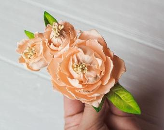 Set of 3 Rose gold peony pins Flower Hairpin Rustic wedding hair pins Bridesmaids hair Bridal Hairpins Bridal beige peonies bobby Ivory Pins