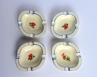 Mid Century / Japan / Porcelain Ashtrays Set / Set of 4 / Hand Painted / Porcelain Individual Ashtrays / Floral Decoration / Small Ashtrays