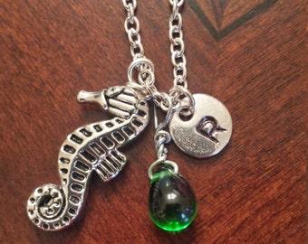 Birthstone May Emerald necklace seahorse Emerald May birthstone Emerald seahorse birthstone seahorse necklace Emerald birthstone charm