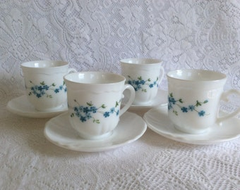 "Arcopal, France ""Veronica"" Cups and Saucers"