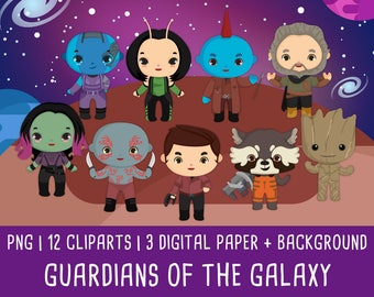 10% OFF Guardians of The Galaxy Clipart, marvel GOTG, Superhero, pattern Invitation, Birtday party, Instant Download PNG file 300 dpi