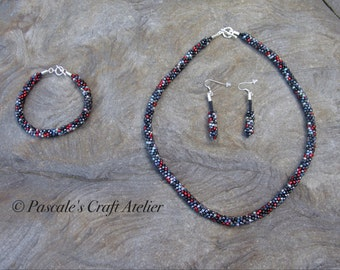 Slate and ruby red Kumihimo Set necklace bracelet ear rings