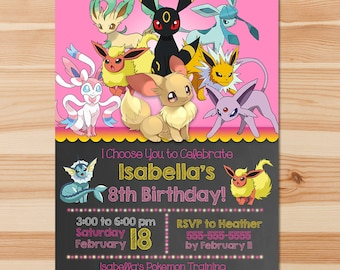 Pokemon Birthday Invite - Eevee Evolutions - Pink Chalkboard - Girl Pokemon Eevee Invitation - Pokemon Party - Pokemon Printables - Eevee