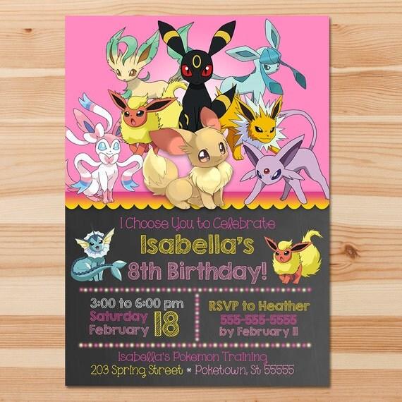 Pokemon Birthday Invite - Eevee Evolutions - Pink Chalkboard - Girl Pokemon Eevee Invitation - Pokemon Party - Pokemon Printables - Eevee