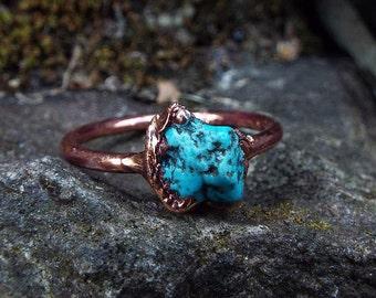 Türkisring, US 7.25, Edelsteinring, Kristallring, Turquoise, Raw Turquoise ring, Crystal ring, Boho ring, Kupferring, Heilsteinring, Copper