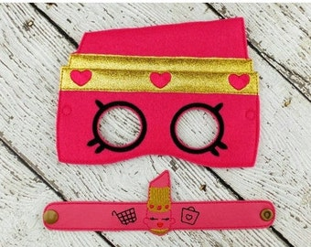 Lipstick Mask and Bracelet - Party Favor - Dress Up - Pretend Play - Halloween Costume