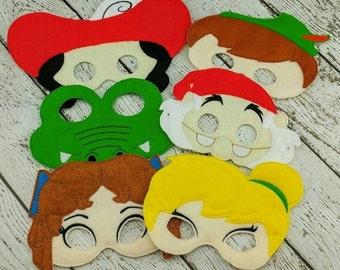6pc Peter Pan Mask Set - Peter Pan Party - Party Favor - Dress Up - Pretend Play