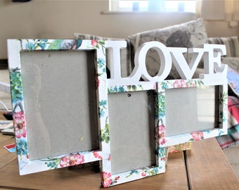 """Multi frame """"Love"""" photo frame with floral pattern"""