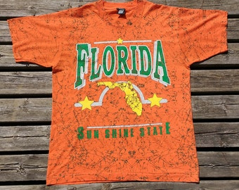 Crazy Time USA Florida Sun Shine State Green Paintball Splatter Bright Orange Made in USA Large t-shirt