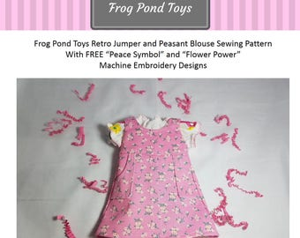 New! Just for Frog Pond dress up dolls! Retro Jumper and Peasant Blouse PDF sewing pattern with 2 free machine embroidery designs for blouse