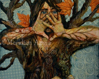 ACEO Tree Spirit, Dryad, Altar Art