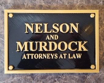 Daredevil Inspired Nelson and Murdock Attorney Sign / Plaque Replica